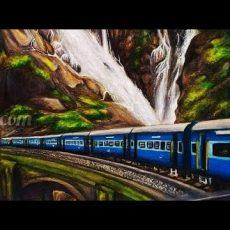 Art by Meghna   Dūdh Sāgar Waterfalls Painting Video Story  Indian Railways Art