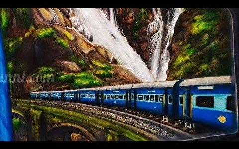 Art by Meghna | Dūdh Sāgar Waterfalls Painting Video Story| Indian Railways Art