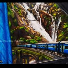 Dūdh Sāgar Waterfalls from a Train Window Painting
