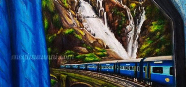 Dūdh Sāgar Waterfalls from a Train Window Painting