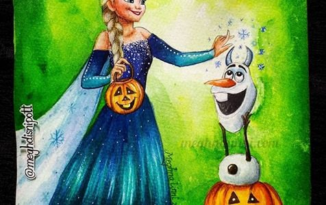 Happy Halloween | Elsa & Olaf Halloween Painting