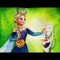 Halloween Elsa and Olaf Painting Video   Art by Meghna