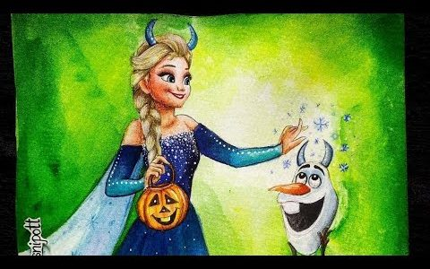 Halloween Elsa and Olaf Painting Video | Art by Meghna