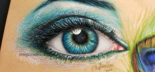 Realistic Human Eye Painting in Colour Pencils Close-up Video
