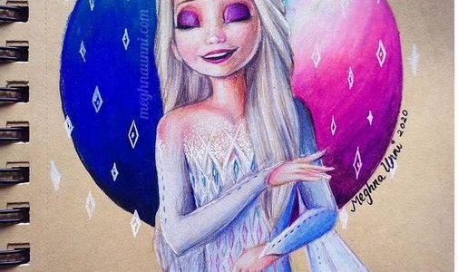 Queen Elsa Birthday 2020 Pencil Color Painting