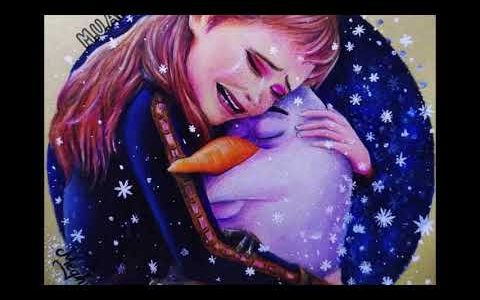 Most Emotional Scene from Frozen 2- Anna and Olaf Hug Drawing