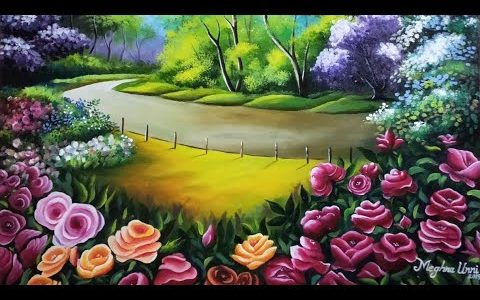Rose Flower Garden Painting | Nature Painting