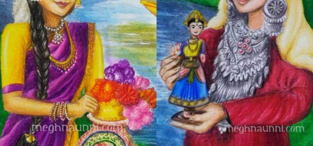 Tamilnadu and Kashmiri Girls Painting for CBSE Art Integration Project