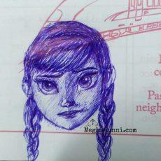 Princess Anna from Frozen: Ball Pen Sketch