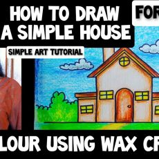 How to Draw A Simple House   Colour using Wax Crayons   Tutorial for Kids and Beginners