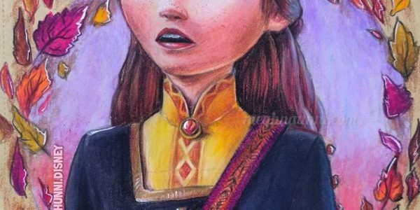 Queen Anna from Frozen 2 Painting in Color Pencils