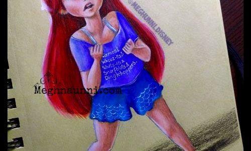 ARIEL | Wreck it Ralph Princess Pencil Colour Painting