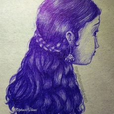 Exam Time Drawing   Girl Ballpoint Pen Sketch