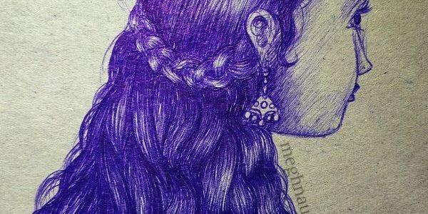 Exam Time Drawing | Girl Ballpoint Pen Sketch