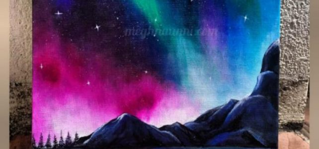 Northern Lights Acrylic Painting on Canvas Board