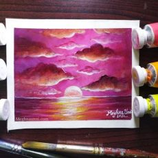 Simple SUNSET Acrylic Painting in 1 Hour | Tutorial Video