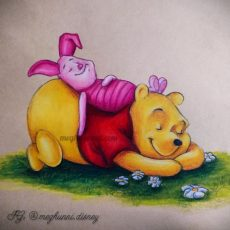 Winnie the Pooh and Piglet Pencil Color Painting