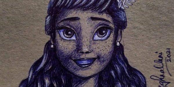 Anna from Frozen Ballpoint Pen Drawing