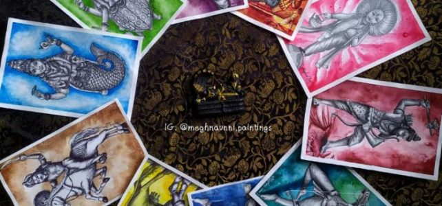 All Dasavatharam Paintings | Pen and Pencil Shading with Watercolor background