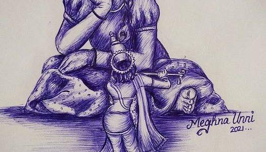 Little Girl Adores Lord Krishna Idol Ball Pen Drawing