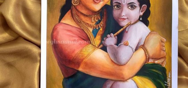 Happy Janmashtami 2021 | Shri Krishna-Yashoda Acrylic Painting