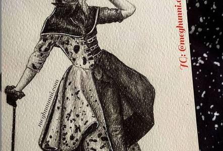 Cruella! The Dalmation Coat Dress Pencil Sketch Painting