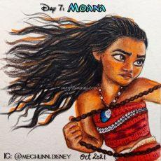 Disneytober Day 7: Moana from 2016 Disney Film 'Moana' Pencilcolor Painting
