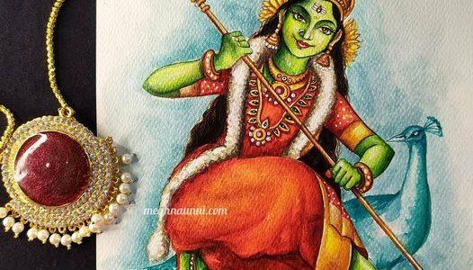 Navaratri Series Day 4: Matrika Devi Kaumāri Painting